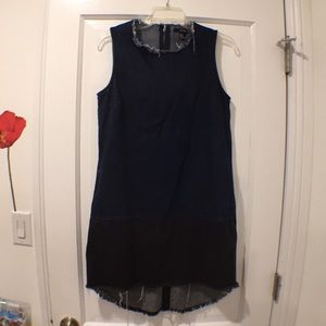 Color block denim dress